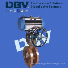 Pneumatic with Manual Metal Seated Flanged Butterfly Valve