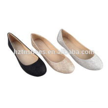 Günstige Damen Schuhe China Factory Import Frauen flache Glitzer Kleid Schuhe