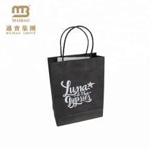 Großhandelskleines kleines Geschenk-Einkaufen tragen kundenspezifische schwarze handliche Kraft-Kraftpapier-Tasche mit Griff