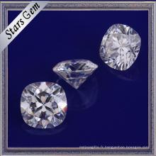 Forme de coussin de haute qualité diamant brillant synthétique synthétique blanc Moissanite Gemstone pour bijoux