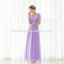 Großhandel Günstige Hochzeiten Brautjungfer Kleider Lila V-Ausschnitt Maxi Langes Abendkleid