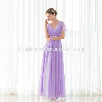 Vente en gros à bas prix Robes de demoiselle d'honneur de mariage à col en V Maxi longue robe de soirée