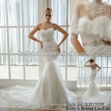 Последний рюшами стиль и кружева Русалка свадебное платье с курткой