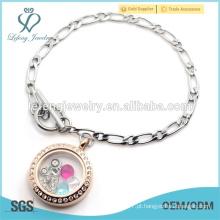 Magnético aço inoxidável 1: 1 NK Cadeia com aço inoxidável rosa medalhão pulseira de ouro