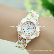 Marca cerâmica cheia cristal senhora pulso mulheres moda relógio