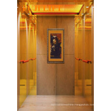 Titanium Gold and Etched Mirror Passenger Elevator