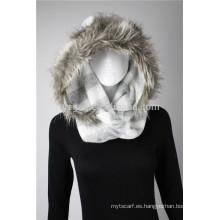 Lady's Acrílico punto bufanda de infinito con piel de imitación