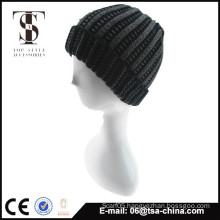 fashional 100% acrylic solid beanie knitted hat for men