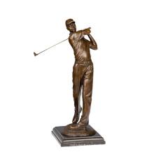 Sports En Laiton Statue Golf Joueur Masculin Décor Bronze Sculpture Tpy-791 (C)