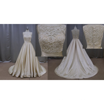Champagne Color Lace Applique Stain Wedding Dress