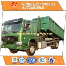 SINOTRUK HOWO 4x2 266hp 10CBM hook arm garbage truck WD615.92 engine