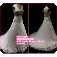 Tecido de renda para vestido de casamento para noivas gravidas Vestido de decote em decalque em V BYB-14577