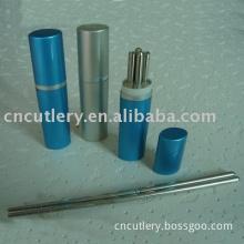 chopsticks,stainless steel chopsticks,aluminium case,metal chopsticks