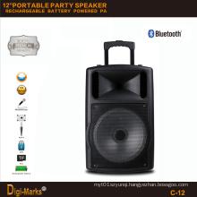 12′′ Portable Party DJ Wireless Karaoke Trolley Bluetooth Active Speaker
