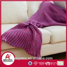 aoyatex 100% акрил мягкий разноцветный вязаный хвост русалки одеяло