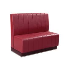Red Künstliches Leder Restaurant Zwei-Sitzer Sofa (SP-KS257)