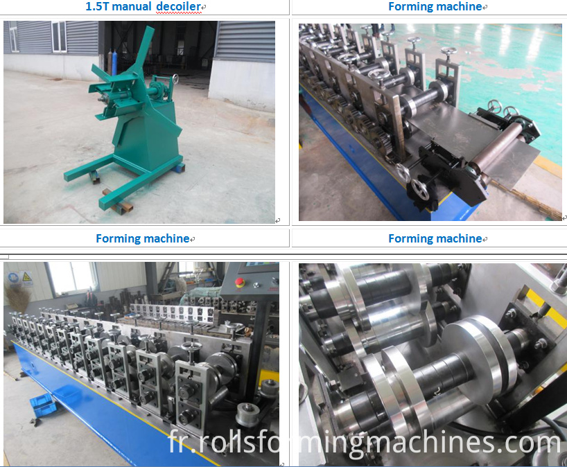 60 27 27 28 combined ceiling machine line pictures of the uncoiler, the feeding and the roll forming line