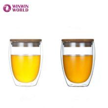 Taza de jugo de vidrio taza de regalo copa mundial con tapa de bambú sin mango