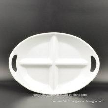 Plaque en céramique de forme ovale à deux poignées de 4 grilles