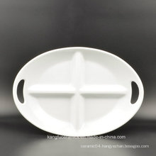 Two Handle 4 Grids Oval Shape Ceramic Plate