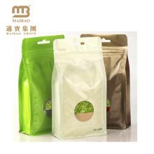 Hersteller-Großhandel biologisch abbaubar Heißsiegel Custom Print Aluminiumfolie Kunststoff Ziplock leeren grünen Teebeutel mit Loch