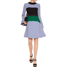 Marni Lilac Black and Forest-Green Dress Color-Block Crepe Dress