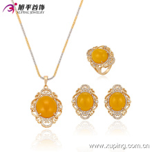 63578 Xuping hot sale fashion delicate beeswax stone pendant earring and ring gold plated jewelry sets