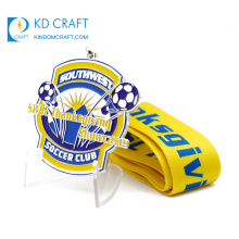 Unique design custom metal crafts soft enamel silver finish global football club soccer medal