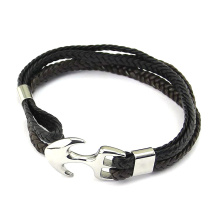 Good Quality for Leather Bangle Bracelet Customize Woven Leather Steel Anchor Hook Mens Bracelet supply to Germany Factories