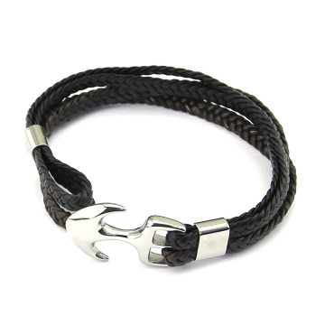 Quality for Men'S Leather Bracelet,Braided Leather Bracelet,Leather Bangle Bracelet Manufacturers and Suppliers in China Customize Woven Leather Steel Anchor Hook Mens Bracelet supply to South Korea Factories