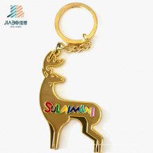 Chaveiro feito a mão liga de zinco do logotipo da jovem corça do anel do esmalte dos artigos relativos à promoção do Natal