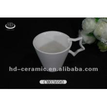 Porcelana caliente cerámica blanca de la taza de la venta, taza de cerámica con la manija de la estrella
