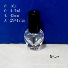 China 5ml Heart Shape Empty Nail Polish Glass Bottle Wholesale