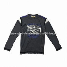 Boys' Long Sleeves Casual T-shirt (Cotton, Printed and Embroidery), Customized Colors Welcomed