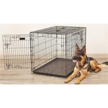 Perrera plegable modificada para requisitos particulares del perro de la jaula del animal doméstico del alambre negro