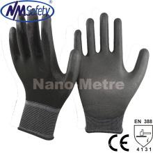 Nmsafety negro PU Palma recubierto Top Fit mano guante de trabajo