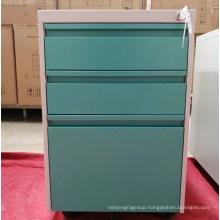 Movable 3 drawer mobile pedestal steel cabinet/ hospital bedside locker