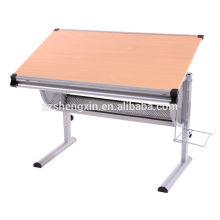 Metal Frame Wood Folding Drawing Desk Altura ajustável para venda
