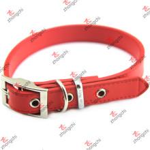 Cuero de cuero rojo de collar llano diseño de cuero Decoración para mascotas (PC15121402)
