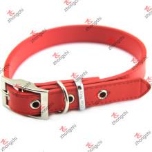 Red Leather Pet Collar Plain couro Design Pet decoração (PC15121402)