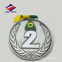 Medalha de motociclismo do logotipo do esporte design redondo da fita do pescoço