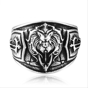Mode skog lejon kung emblem ring