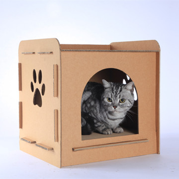Cardboard cat house for pet toys