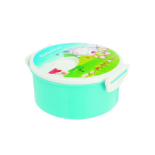Plastic Lunch Box Flower Printed Round Shape