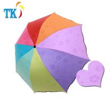 Creative Rainbow Water Bloom Umbrella Paraguas plegable de la sombrilla