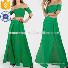 Shirring Crop & Matching Skirt Set Manufacture Wholesale Fashion Women Apparel (TA4122SS)