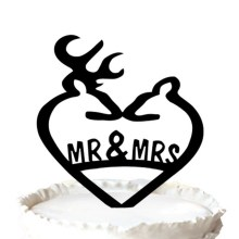 Deer Wedding Cake Topper, Engraved Mr & Mrs Cake Topper