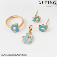 Sistemas de la joyería del oro 64016-Xuping, sistema de la joyería de cobre amarillo de la moda con el oro 18K plateado