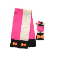 100% Lammwoll Colorblock Schal & Magic Handschuh