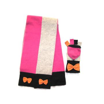 100% Lambswool Colorblock Scarf & Magic Glove